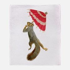 Squirrel Parasol Throw Blanket