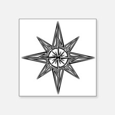 "Tribal Compass Rose Square Sticker 3"" x 3"""