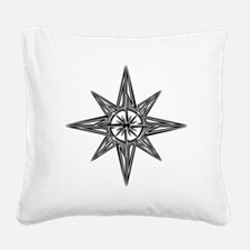 Tribal Compass Rose Square Canvas Pillow