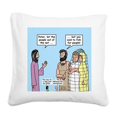 Fishing with Peter Square Canvas Pillow