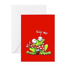 Kiss Me Frog n Bug Greeting Card