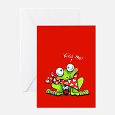 Kiss Me Frog n Bug Greeting Card