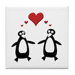 Penguin Hearts Tile Coaster