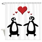 Penguin Hearts Shower Curtain