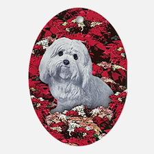Maltese Poinsettia Christmas Holiday Ornament (Ova