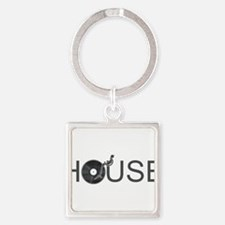 House Music Square Keychain