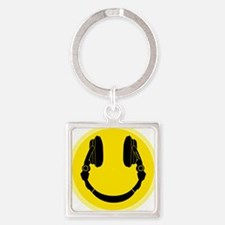 Headphone Smiley Face Square Keychain