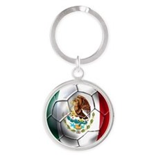 Mexican Soccer Ball Round Keychain