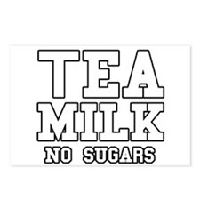 Tea Milk No Sugars Postcards (Package of 8)