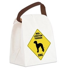 Bedlington Terrier Crossing Sign Canvas Lunch Bag