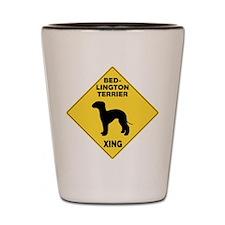 Bedlington Terrier Crossing Sign Shot Glass