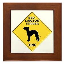 Bedlington Terrier Crossing Sign Framed Tile