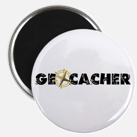 Geocacher with compass as O Magnet