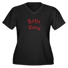 Red Hot Waitress Women's Plus Size V-Neck Dark T-S