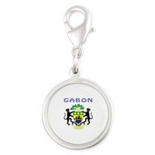 Gabon Coat of arms Silver Round Charm
