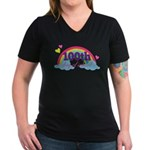 100th Day Of School Rainbow Women's V-Neck Dark T-