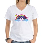 100th Day Of School Rainbow Women's V-Neck T-Shirt