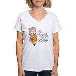 100th Day Of School gift Women's V-Neck T-Shirt