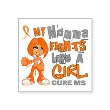 "Fights Like a Girl 42.9 MS Square Sticker 3"" x 3"""