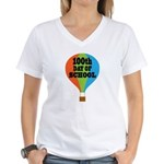 100th Day Of School balloon Women's V-Neck T-Shirt