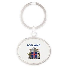 Iceland Coat of arms Oval Keychain