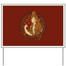 Art Nouveau Long Haired Woman Yard Sign