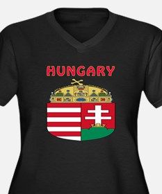 Hungary Coat of arms Women's Plus Size V-Neck Dark