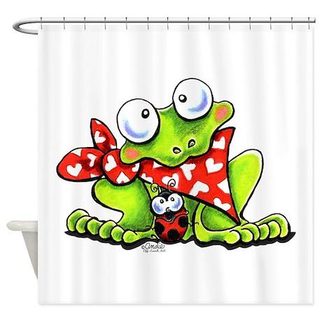 Blushing Frog Shower Curtain