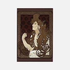Art Nouveau Woman With Long Dark Hair Rectangle Ma