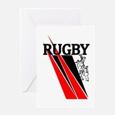 Rugby Line Out Red Black Greeting Card
