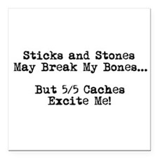 "Sticks and Stones... Square Car Magnet 3"" x 3"""