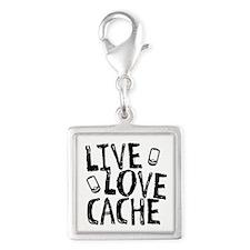 Live, Love, Cache Silver Square Charm