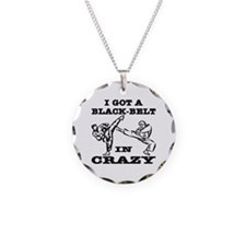 A Black Belt In Crazy Necklace Circle Charm