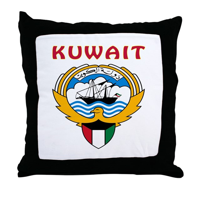Kuwait Coat Of Arms Throw Pillow By Tshirts4countries
