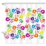 Handprint pattern Shower Curtains