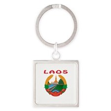 Laos Coat of arms Square Keychain