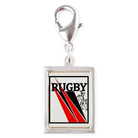 Rugby Line Out Red Blace Silver Portrait Charm
