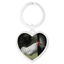 Rooster Trio Heart Keychain