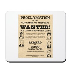 James Younger Gang Wanted Mousepad