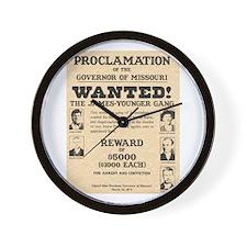 James Younger Gang Wanted Wall Clock