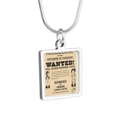 James Younger Gang Wanted Silver Square Necklace