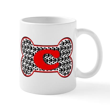 Letter C Pawprint Dog Bone Mug