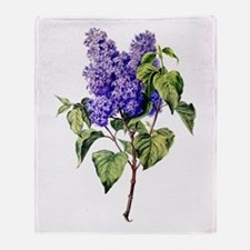 Lilac Drawn From Nature Throw Blanket