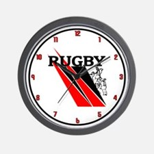 Rugby Line Out Red Black Wall Clock