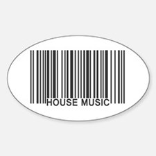 House Music Barcode Sticker (Oval)