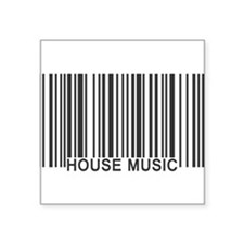 "House Music Barcode Square Sticker 3"" x 3"""