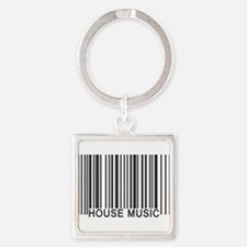 House Music Barcode Square Keychain