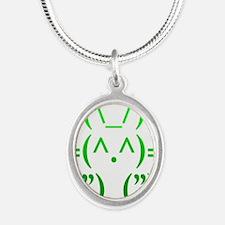 Ascii Rabbit Silver Oval Necklace
