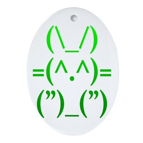 Ascii Rabbit Ornament (Oval)