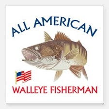 All american Walleye Fisherman Square Car Magnet 3